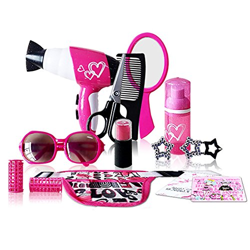 (Pretend Play Makeup Toy Set, Makeup Cosmetic Salon Toys for Little Girls - 13 Pieces with Hair Dryer, Hair Curler, Comb, Scissor, Mirror, Sunglasses, Lip Balm, 2 Earring, Bottle, 2 Tuka, Pockets)