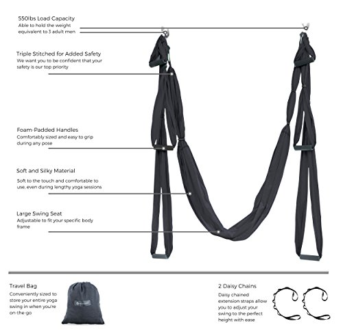 UpCircleSeven Aerial Yoga Swing Ultra Strong Antigravity Yoga Hammock/Trapeze/Sling for Antigravity Yoga Inversion Exercises 2 Extensions Straps Included