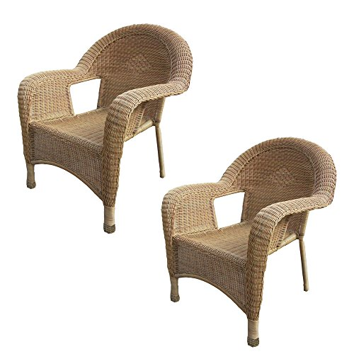 Brass Outdoor Chair - Oakland Living 2-Pack Resin Wicker Arm Chair, Honey