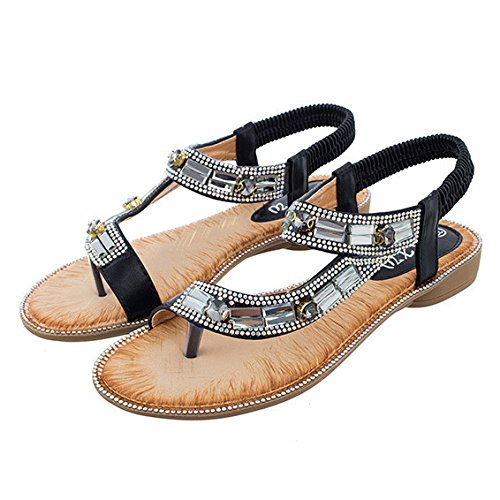 HGDR Women's Flat Sandals Summer Clip Toe Flip Flops Thongs Bohemian Style Beach Shoes Casual Shoes For Walking Vacation Black