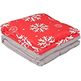 Christmas Gift Weighted Blanket with Removable Cover by Weighted Idea - Calm Down from Anxiety, Insomnia, Sleep Better - Snowflake (60''x80'', 25 lbs)