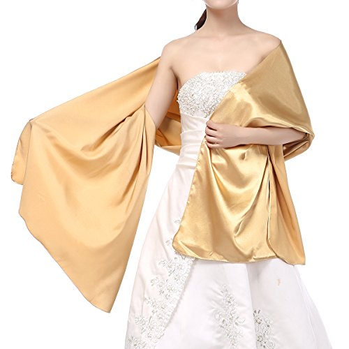 Golden Wrap (mashahan Satin Shiny Shawl Wraps For Women's Wedding Formal Party Golden)