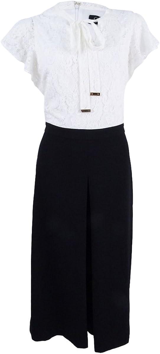 Jessica Simpson Womens Lace Top Cropped Jumpsuit 2, Black