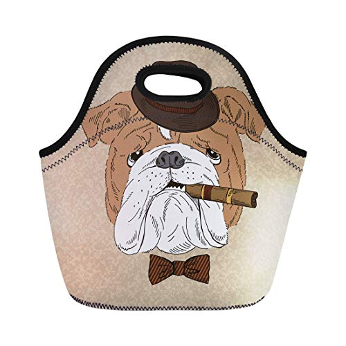 Semtomn Neoprene Lunch Tote Bag Dog Portrait of English Bulldog Cigar Animal Cartoon Vintage Reusable Cooler Bags Insulated Thermal Picnic Handbag for Travel,School,Outdoors,Work ()