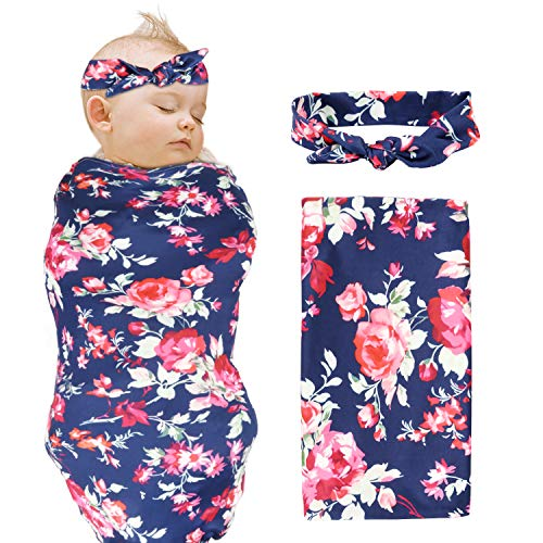 Newborn Swaddle Receiving Blanket and Headband Value Set,CIEHER Pink Flower Print Anti Kicking Swaddle for Baby Newborn (Navy Blue) ()