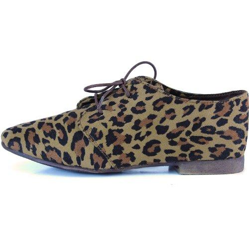 Femme Classique Lacets Ballerines Plates Oxford Sneaker Chaussures Léopard