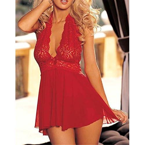 chic Love Mangoo Femmes Lingerie Dentelle V-orné Dos Nu Babydoll Sous- vêtement Déshabillés af4f62363357