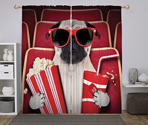 2 Panel Set Window Drapes Kitchen Curtains,Pug Funny Dog Watching Movie Popcorn Soft Drink and Glasses Animal Photograph Print Red Cream Ruby,for Bedroom Living Room Dorm Kitchen Cafe by iPrint