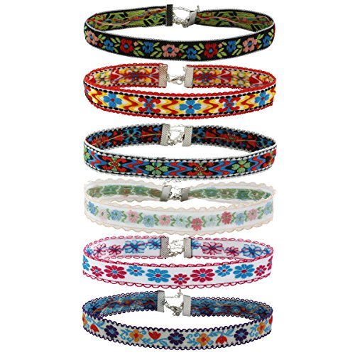 (Eigso 6Pcs Vintage Ethnic Trend Catton Fabric Choker Necklaces Set for Teen Girls Women with Extender Chain)