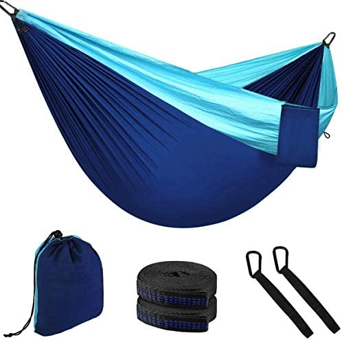 Rusee Double Camping Hammock, Parachute Nylon Hammock,Lightweight Portable Hammock,with 2 Adjustable Tree Straps for Backpacking, Camping, Travel, Beach, Garden Sky Blue Blue