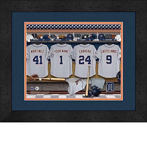 Detroit Tigers Personalized MLB Baseball Locker Room Jersey Framed Print 14x18 Inches