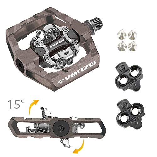 Venzo Click'R Shimano SPD Compatible Mountain Bike Sealed Pedals with Cleats