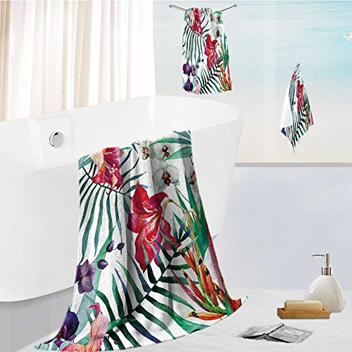 (AuraiseHome Hotel Bath Towel Set watercolor,tropical,pattern,wallpaper,background,birds of paradise,orchids Absorbent and Softness, 13.8