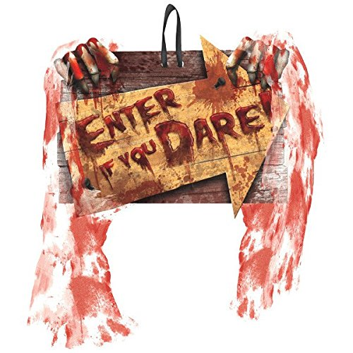 [Amscan Enter If You Dare Creepy Carnival Sign Halloween Trick or Treat Party Decoration, Multicolor, 9