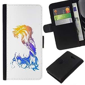 // PHONE CASE GIFT // Moda Estuche Funda de Cuero Billetera Tarjeta de crédito dinero bolsa Cubierta de proteccion Caso Sony Xperia M2 / Abstract Neon Glow /