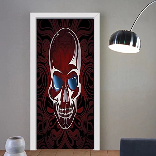 Gzhihine custom made 3d door stickers Skull Scary Deadly Skeleton Head with Victorian Backdrop Image Artwork Burgundy Dimgrey Slate Blue For Room Decor 30x79 by Gzhihine