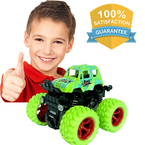 LayYun Pull Back Cars Toys for Boys, Monster Truck Toys,Four-Wheel Drive Inertia Car Toys, Car Party Favors for Toddlers Boys Age 2-5 Year Gifts for Kids Birthday (Green)