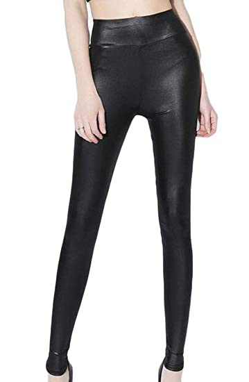 2208311894 JXG Women Casual Plus Size Faux Leather High Waist Brushed Lining Leggings  Black US M