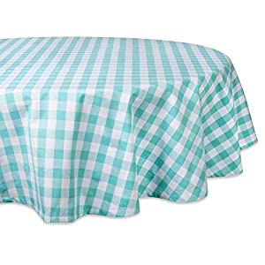 "DII 100% Cotton, Machine Washable, Dinner, Summer & Picnic Tablecloth, 70"", Aqua & White Check, Seats 4 to 6 People"