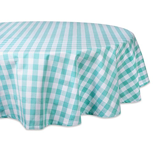 """DII 100% Cotton, Machine Washable, Dinner, Summer & Picnic Tablecloth, 70"""", Aqua & White Check, Seats 4 to 6 People"""