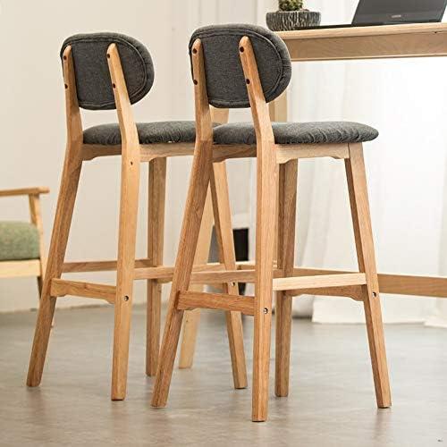 HAIZHEN - Barkruk, houten tegenstoel met linnen stof en rugleuning, restaurants, cafés, keukens, 62/72cm,3 kleuren