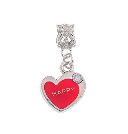 9d205f02bfd16 Amazon.com: Happy Heart Red Enamel Word Dangle Charm for Silver ...