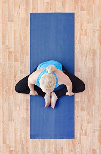 "YogaAccessories 1/4"" Thick High-Density Deluxe Non-Slip Exercise Pilates & Yoga Mat, Dark Blue"