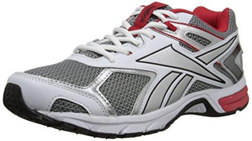Reebok Men's Quickchase Running Shoe, Flat Grey/White/Red Rush/Black, 9 M US