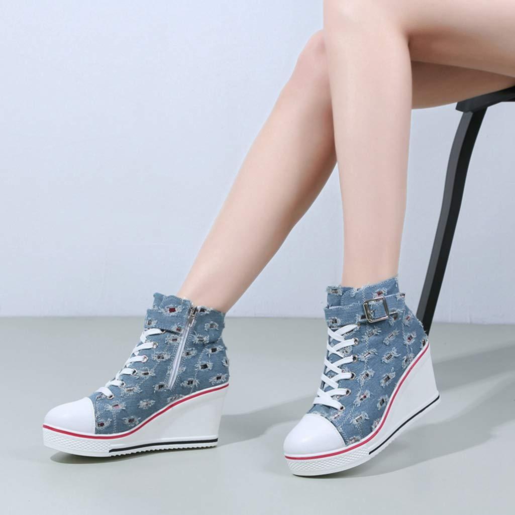 Amazon.com: ASO-SLING Women Hidden Heels Wedge Sneakers Causal Breathable Platform Denim Canvas Zapatillas Shoes: Sports & Outdoors