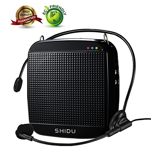Voice Amplifier,SHIDU Mini Voice Amplifier with Wired Microphone Headset 18W Portable Personal Speaker MP3 Audio Sound System for Teachers,Elderly,Singing,Coaches,Yoga,Tour Guides,Outdoor Trainers (Speaker Audio Personal System)