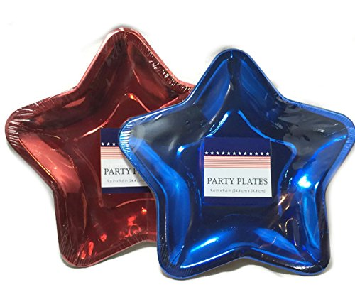 Patriotic Star Shaped Party Plates ~ 24 Plates (Red and Blue) - Patriotic Plates