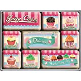 Nostalgic-Art 83055 Home und Country Fairy Cakes, Delicious, Magnet-Set, 9-teilig