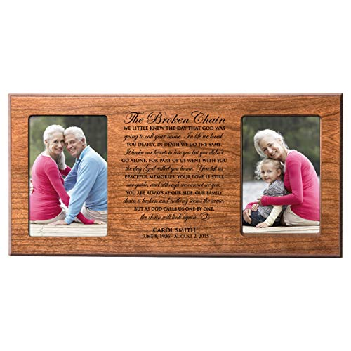 LifeSong Milestones The Broken Chain Poem Personalized in Loving Memory Custom Photo Frame Holds 2 4x6 picutre (Cherry)