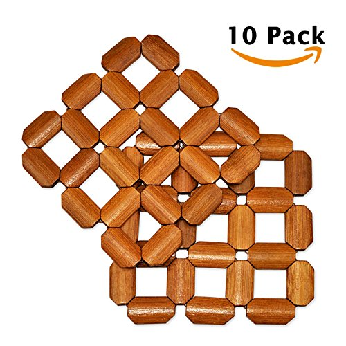 10 Sets Trivets Bamboo Drink Coasters Eco Placemats Thicken Wood Material Dining Table Hot Dish Pads for Coffee Cup Mugs Kitchen Mats Cook Top Countertops Decorative Heating Insulation Family Pack A