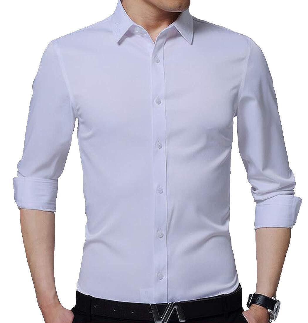Joe Wenko Mens Regular Fit Button-Down Workwear Long Sleeve Solid Dress Shirt