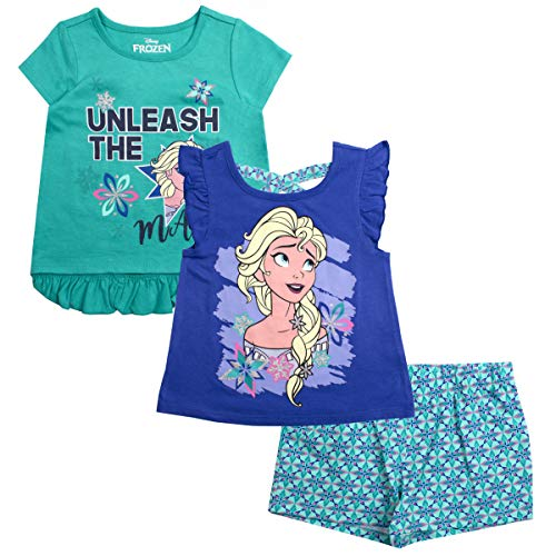(Disney Girls 3PC Shirts and Short Set: Wide Variety Includes Minnie, Frozen, and)