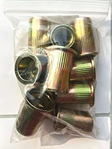 STEEL THIN-NUT LARGE FLANGE, GOLD ZINC FINISH 1/2-13 x .063-.200 GRIP RANGE (PACK OF 10)