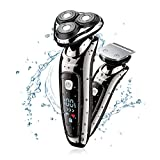 Hatteker Mens Electric Shaver Beard Trimmer Rotary Shaver Razor With Sideburn Hair Trimmer Wet/Dry 2 in 1 USB rechargeable Cordless Hair Clippers Waterproof Classic Black