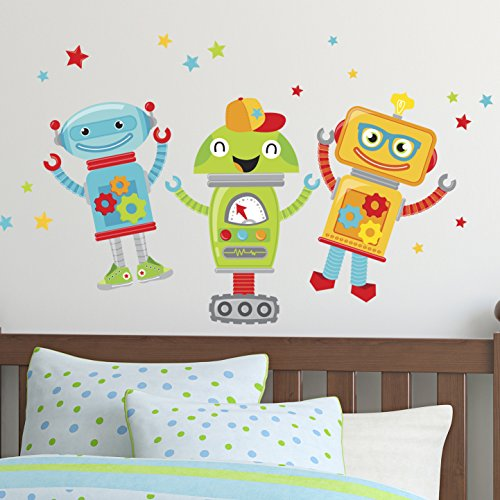 Wall Decals Art Stickers for Cute Kids Room Decor | Easy to Peel and Stick + Safe on Painted Walls - Fun and Colorful Robot Friends and Stars for Girl and Boy Bedrooms. Three 10