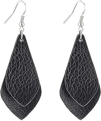 Genuine Leather Earrings Teardrop Lightweight Bohemian Dangle Drop Earrings Valentines Day Gift For Women Girls