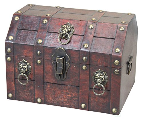 Vintiquewise QI003316 Antique Wooden Pirate Chest with Lion Rings and Lockable Latch