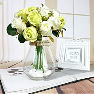 12Pcs Artificial Rose Bouquet Decorative Silk Flowers Bride Bouquets for Wedding Home Party Decoration Wedding Supplies 4