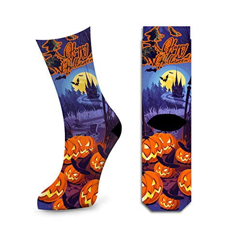 Happy Halloween Costumes Socks, Great Cool Castle Cemetery Design Cotton Socks by Samui -