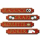 4 pc Las Vegas CASINO - Black Jack POKER Craps Cardboard Cutout Party Decoration