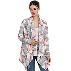 Romanstii Womens Cardigan Knitted Sweater Loose Jacket Coat, Small, Pink