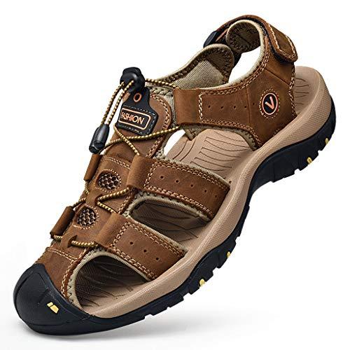 Men's Sandals, ✔ Hypothesis_X ☎ Outdoor Mens Leather Flats Shoes Hiking Sport Sandals Summer Beach Sandals Brown