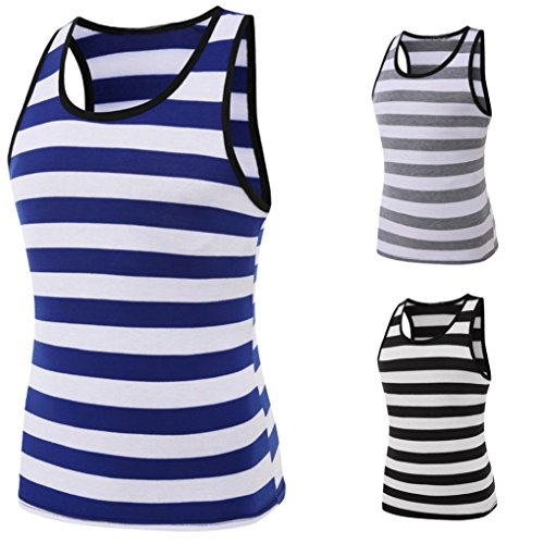 Blouse, Han Shi Mens Fashion Casual Slim Fit T Shirt Sleeveless Casual Stripe Vest