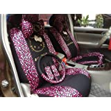 Hello Kitty- 18pcs-auto Car Front and Rear Seat Covers, Car Accessories -Car Seat Cushion-rear View Mirror Cover, Gear Shift Cover