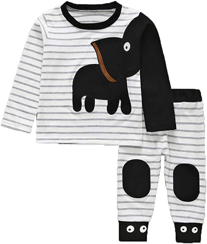 2pcs Newborn Kids Baby Boys T-shirt Tops+Long Striped Pants Outfit Clothes Set