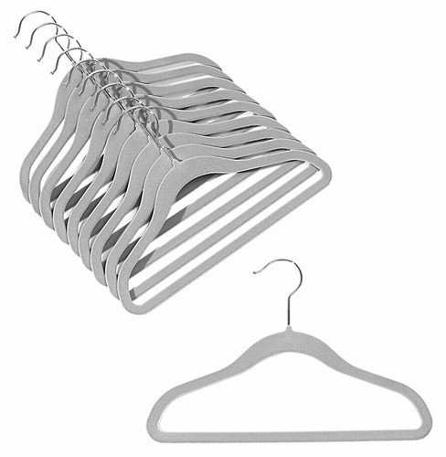 ULTRA-SLIM CHILDREN'S VELVET SHIRT/PANT HANGERS - SET OF 100 - GRAY